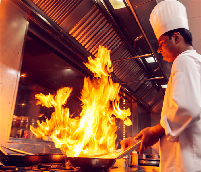 commercial kitchen with fire