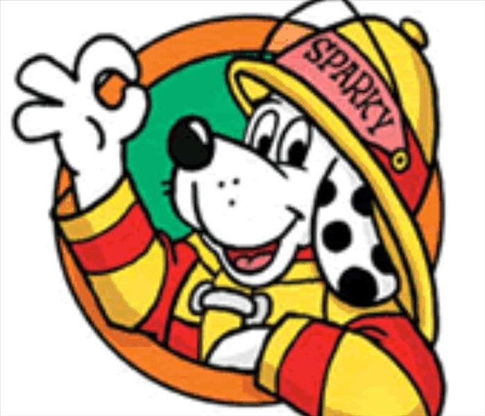 "Graphic of Sparky the Fire Dog Dalmatian puppy in firefighter PPE giving the ""OK"" sign with his fingers"